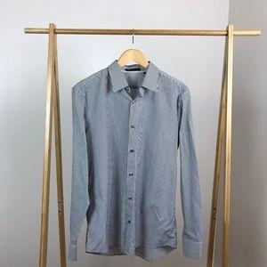 Theory • Pinstripe Button Up Shirt Kale WP Large